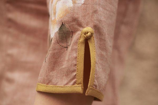 【即納】シャツ/ブラウス/七分袖ボタン飾りスタンドカラー/無地大きいサイズあり-ab0037【カラー:画像参照】【サイズ:S】