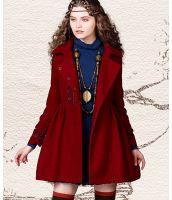 コート 胸元刺繍入り袖口シャーリング加工裾フレアAラインパフスリーブゆったり-ak6981