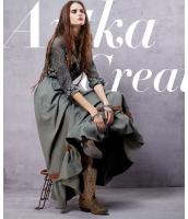 ウエストゴム入り裾バイカラー切替リボン飾りフレアAライン無地ゆったりロング丈スカート ak7620