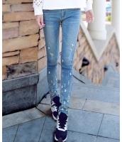 【即納】脚口星柄刺繍入りダメージ加工細身タイトデニムジーンズ tk-hd5282-l-gz【カラー:ブルー】【サイズ:L】