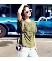 半袖Tシャツ 胸元キャラクター クルーネック/丸首 無地 ゆったり【グリーン/緑】[XS,S,M,L,XL] hd7033-2
