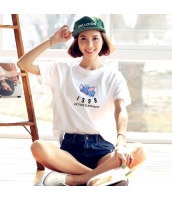 半袖Tシャツ 胸元キャラクタープリント 無地 ストレート ゆったり【ホワイト/白】[XS,S,M,L,XL] hd7152-2