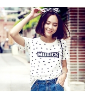 半袖Tシャツ 星プリント 胸元アルファベットプリント ストレート【ホワイト/白】[S/M/L] hd7799-1