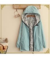 フード付きジップアップ裏プリント入り裾紐付き多色無地長袖パーカ hs0100-1