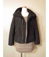 【即納】tk-eo1279-bk限定品 ブラック黒スリム着痩せシンプルジャケット・ブルゾン-フリース裏地フリ-(S~M)サイズ