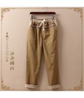 ロングパンツ 九分丈 幾何刺繍 脚口ロールアップ 無地【ベージュ】 jf0201-2