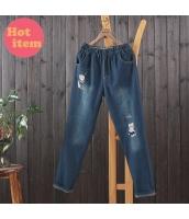 パンツ ロングパンツ 復古 猫柄刺繍 ゴム入りのウエスト jf1443-1