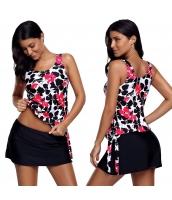 【インポート水着】【ピンク】ブラック【花柄】スカート水着【タンキニ水着】スカート水着【黒】 cc410489