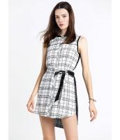 ガーベラレディース ファッション 格子 袖なし シャツワンピース (贈呈ウエストバンド) mb10408-1