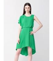 ガーベラレディース ファッション エレガント 非対称性 ミディアム シフォン 無地 ワンピース  mb10454-1
