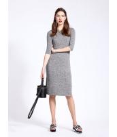 ガーベラレディース カジュアル ファッション シンプル スリット 七分袖 ワンピース  mb10501-2