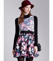 ガーベラレディース ファッション 復古 プリント 袖なし ワンピース (贈呈ウエストバンド) mb10523-1