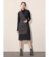 ガーベラレディース エレガント ファッション 左右非対称性 格子 ファスナー Vネック ミディアム ワンピース ベスト mb10594-1
