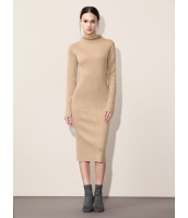 ガーベラレディース シンプル ファッション 着やせ ハイネック ロング丈 ワンピース  mb10601-2