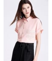 ガーベラレディース ファッション コーデアイテム ゆったり レース ポケット飾り 半袖 ショート丈 シャツ  mb10632-2