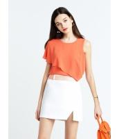 ガーベラレディース シンプル ファッション 非対称性 ゆったり 丸首 コーデアイテム ブラウス  mb10653-3