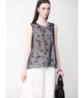 ガーベラレディース ファッション ロマンチック シフォン プリント 襟口 袖なし ブラウス  mb10659-1