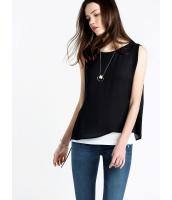 ガーベラレディース エレガント シンプル ファッション ゆったり Aライン 重ね着風 袖なし プルオーバー ブラウス  mb10663-1