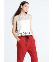 ガーベラレディース 欧米風 カジュアル 着やせ ファッション コーデアイテム プリント 丸首 袖なし ブラウス  mb10676-1