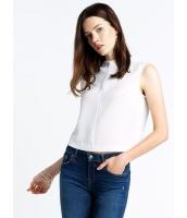ガーベラレディース シンプル ファッション エレガント ハイネック 袖なし プルオーバー ブラウス  mb10679-2