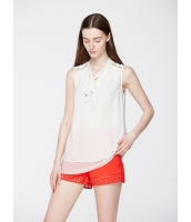 ガーベラレディース 欧米風 カジュアル ファッション レース シフォン リボン 襟口 結びリボン ゆったり 袖なし シャツ  mb10737-2