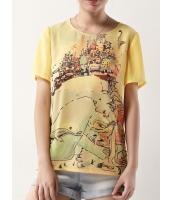 ガーベラレディース ファッション 印象派 プリント 丸首 半袖 シフォン ブラウス  mb10752-1