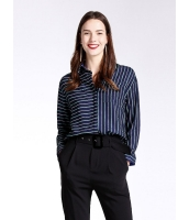 ガーベラレディース ファッション 细ボーダー ゆったり 長袖 シャツ  mb10794-1