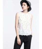 ガーベラレディース シンプル ファッション フリンジ飾り 丸首 袖なし プルオーバー ブラウス  mb10815-2