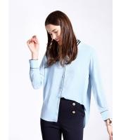 ガーベラレディース エレガント ファッション OL パッチワーク襟 長袖 シャツ  mb10822-1