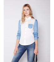 ガーベラレディース 欧米風 カジュアル 細身 ファッション デニム袖 個性派 長袖 シャツ mb10841-1