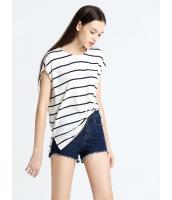 ガーベラレディース 欧米風 カジュアル ゆったり 裾 スリット 丸首 ボーダー Tシャツ mb10899-1