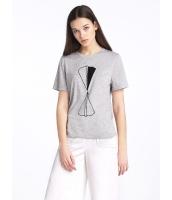 ガーベラレディース 欧米風 カジュアル 細身 紙飛行機 丸首 半袖 Tシャツ mb10907-1
