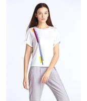 ガーベラレディース 欧米風 カジュアル ストレート カジュアル 丸首 半袖 Tシャツ mb10912-1