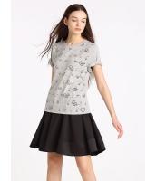 ガーベラレディース 欧米風 カジュアル ゆったり 丸首 半袖 Tシャツ mb10923-2