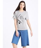 ガーベラレディース 欧米風 カジュアル ストレート 丸首 半袖 Tシャツ mb10925-1