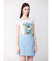 ガーベラレディース シンプル おおらか 軽やか リラックス 清楚 ファッション コーデアイテム 丸首 半袖 Tシャツ mb10963-1