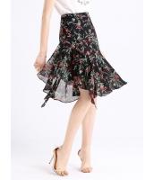 ガーベラレディース ファッション デジタルプリント 非対称 Aライン裾 コーデアイテム ひざ下スカート mb11051-1