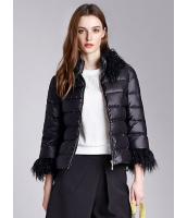 ガーベラレディース エレガント ロマンチック シンプル ファー襟取り外し可能 裾幅調節可能 ゆったり 七分袖 ショート丈 キルティングジャケット mb11323-1