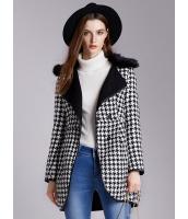 ガーベラレディース ファッション OL 千鳥格子 取り外し可能ファー襟 コート mb11390-1