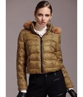 ガーベラレディース ファッション ヒョウ柄 フード付き 綿入りダウンジャケット mb11397-1