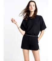 ガーベラレディース エレガント ファッション シンプル 半袖 丸首 ゆったり ブラウス ショートパンツ 2点セット mb11558-1