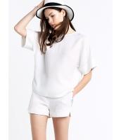 ガーベラレディース エレガント ファッション シンプル 半袖 丸首 ゆったり ブラウス ショートパンツ 2点セット mb11558-2