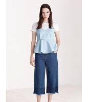 ガーベラレディース ファッション シンプル Vネック ハイウエスト ぺプラム裾 2点セット mb11560-1