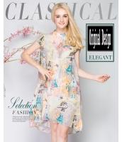 ガーベラレディース 欧米風 スタンドカラー ワンピース ミディアム丈 ゆったり 着やせ 不規則 フレア裾 mb11589-1