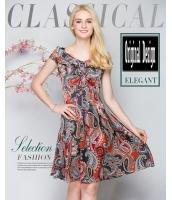 ガーベラレディース 欧米風 ファッション ドレス ワンピース 半袖 Vネック パーティ Aライン mb11604-1