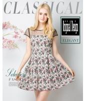 ガーベラレディース ファッション 小花 レース 半袖 着やせ ワンピース mb11618-1