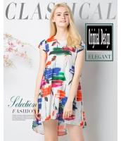 ガーベラレディース ユーロ風 ファッション 不規則 タキシード裾 ミディアム丈 シフォン ゆったり ワンピース mb11634-1