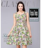 ガーベラレディース ファッション 小花 丸首 袖なし 着やせ Aライン ワンピース mb11637-1