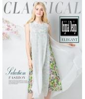 ガーベラレディース ユーロ風 ファッション 2点セット タンクトップワンピース ミディアム丈 小花 袖なし 着やせ mb11677-1