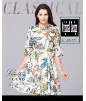 ガーベラレディース 小花 スタンドカラー ワンピース 半袖 ファッション コーデアイテム ハイウエスト mb11685-1